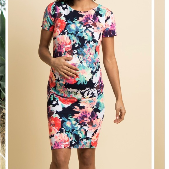 714384a99109e Pinkblush Dresses | Navy Neon Floral Fitted Maternity Dress | Poshmark